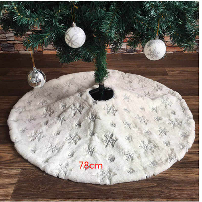 78/90/122cm White Flannel Embroidered Snowflake Christmas Tree Skirt Sliver Gold Christmas Tree New Year Home Decoration Tool