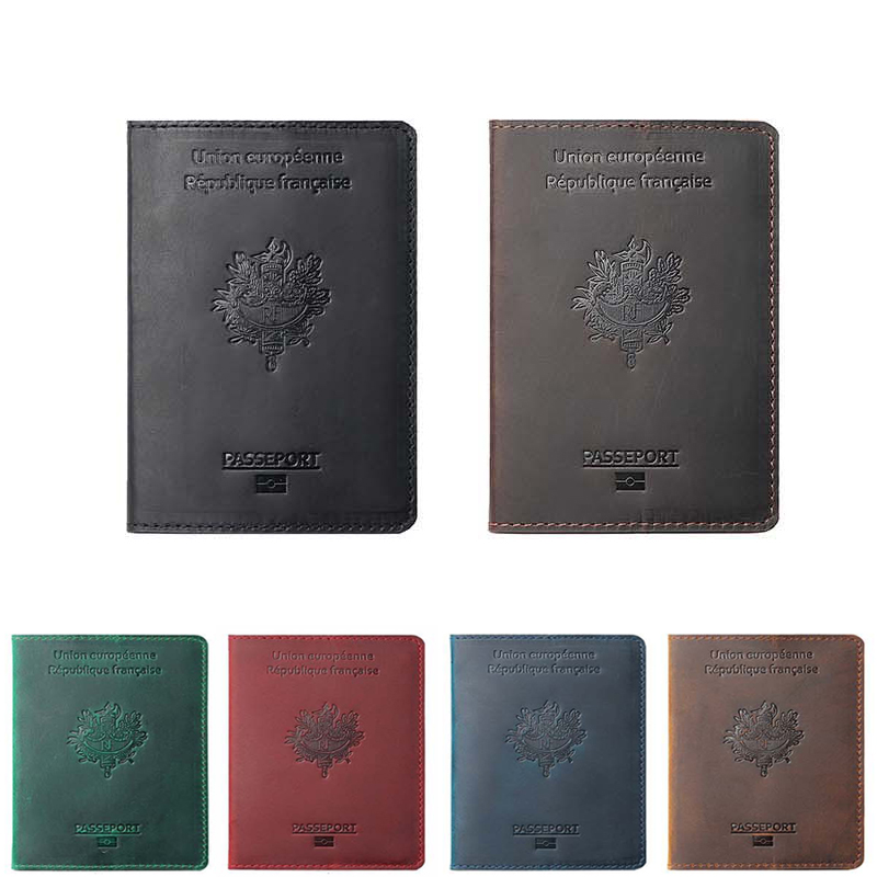 Genuine Leather France Passport Cover For France Credit Card Holder French Passport Case Unisex Travel Wallet