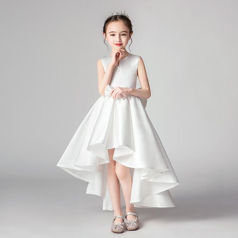 Girls White Western Style Princess Dress Flower Boys/Flower Girls Birthday Puffy Yarn Children Small Host Piano Performance Even