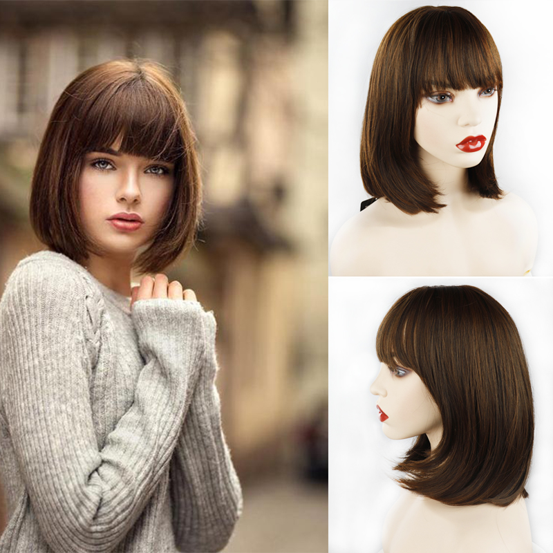 AZQUEEN Short Straight Wig with Bangs for Women Synthetic Wigs Black brown Bob Wig Heat Resistant Cosplay Hair