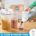 2019 nuevo 2L plástico dispensador de cereales caja de almacenamiento cocina alimentos grano arroz contenedor PP multifuncional L5 #4