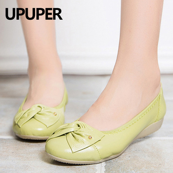 Womens Genuine-Leather Flat Shoes