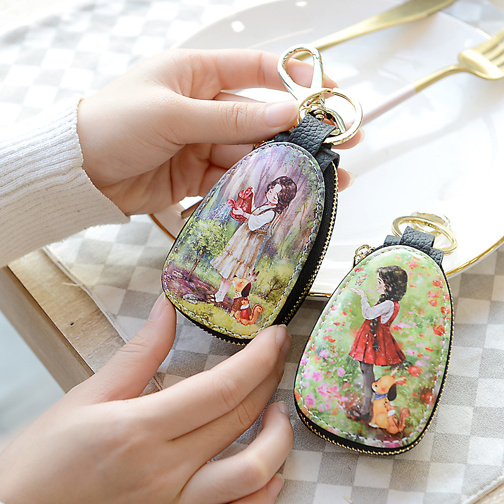 New Fashion  men Ladies Leather Car Key Chain Wallet Fashion Gold Key Chain Key Storage Box Housekeeper Car Key Bag