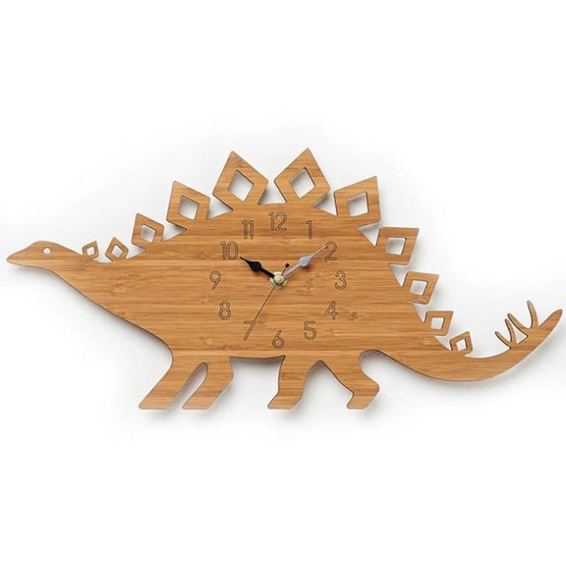 Natural Banboo Dinosaur Bamboo wood wall clock children s bedroom mute modern design Stegosaurus Wall Clock home decor