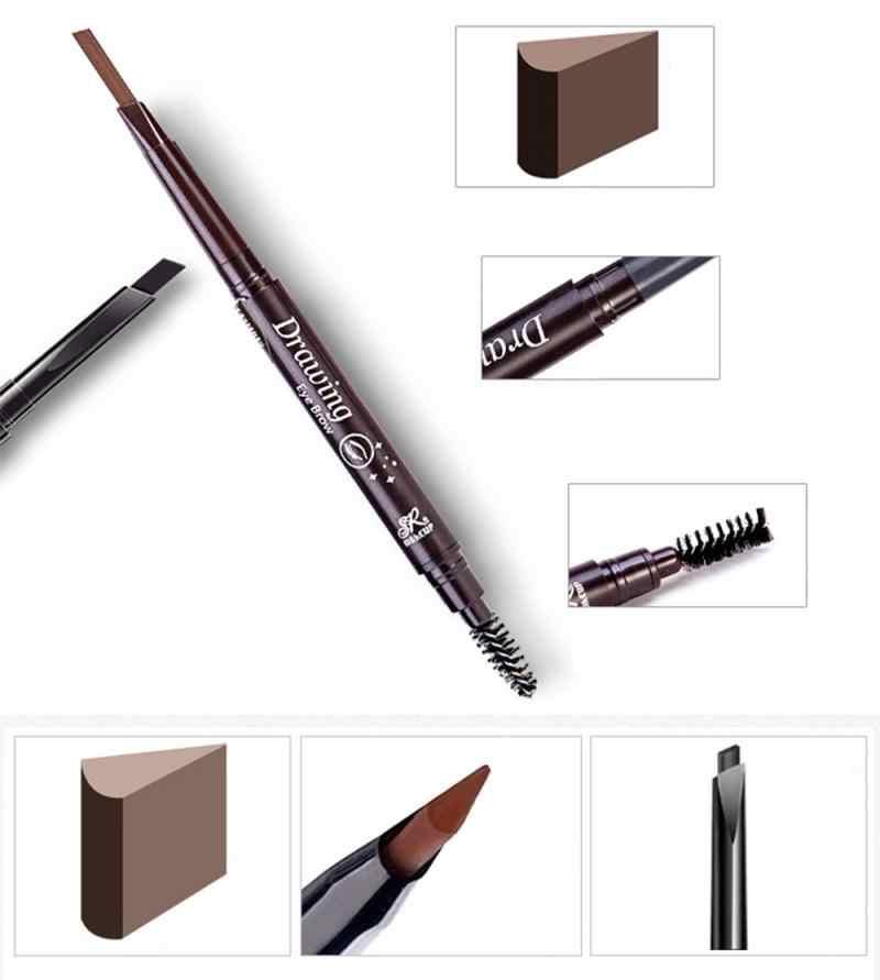 6 renk çift uçlu kaş kalemi doğal hiçbir çiçeklenme su geçirmez dönen ile otomatik kaş kalemi fırça sıcak satış