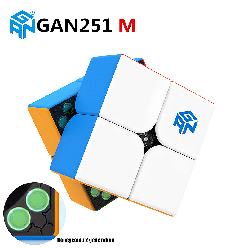 GAN251 M 2x2x2 Magnetic Magic Speed Cube Stickerless Professional Magnets GANS Pocket Puzzle Cubes GAN 251 M