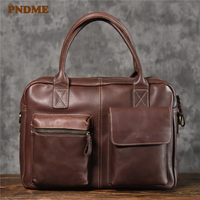 PNDME Vintage First Layer Cowhide Men's Briefcase Business Handbag Natural Genuine Leather Luxury Large Laptop Shoulder Bag