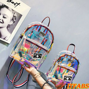 Fashion UK Clear PVC Transparent See Through Mini Backpack Cute School Book Bag