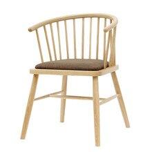 Silla de comedor de madera sólida silla de diseño de hotel vintage mesa y silla respaldo apoyabrazos Nórdico