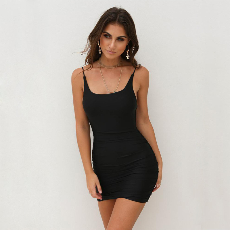 ONCE Spaghetti Strap Sexy Bodycon Dress Summer Yellow Neon White Black Club Sleeveless Mini Short Dress Women
