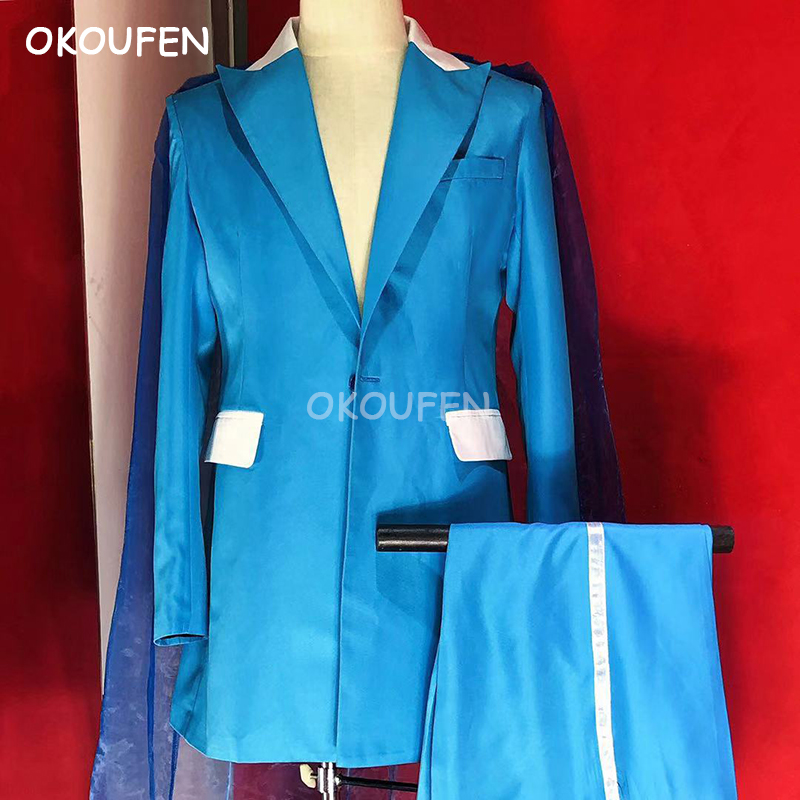 Men's personality sky blue cloak clothing party performance clothing nightclub bar DJ singer stage costume