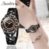 Relojes SUNKTA de cerámica negra para mujer, reloj de cuarzo Simple de moda para mujer, reloj femenino de lujo de marca superior, reloj femenino