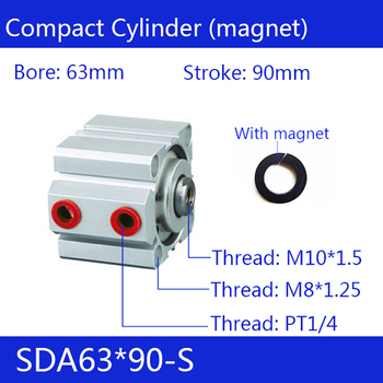 SDA63*90-S Free shipping 63mm Bore 90mm Stroke Compact Air Cylinders SDA63X90-S Dual Action Air Pneumatic Cylinder