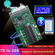 8S 20S Ant koruma levhası 72V 60V 48V 13S 10S eBike EV Li ion lipo Lifepo4 LTO lityum pil BMS Bluetooth denge 20ah