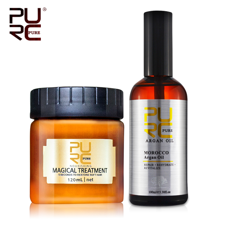 PURC Hair Care Set 120ml Magical Hair Mask Deep Conditioning Treatment 100ml Moroccan Argan Oil Moisturizing Nourishing Hair Oil|Conditioners| - AliExpress