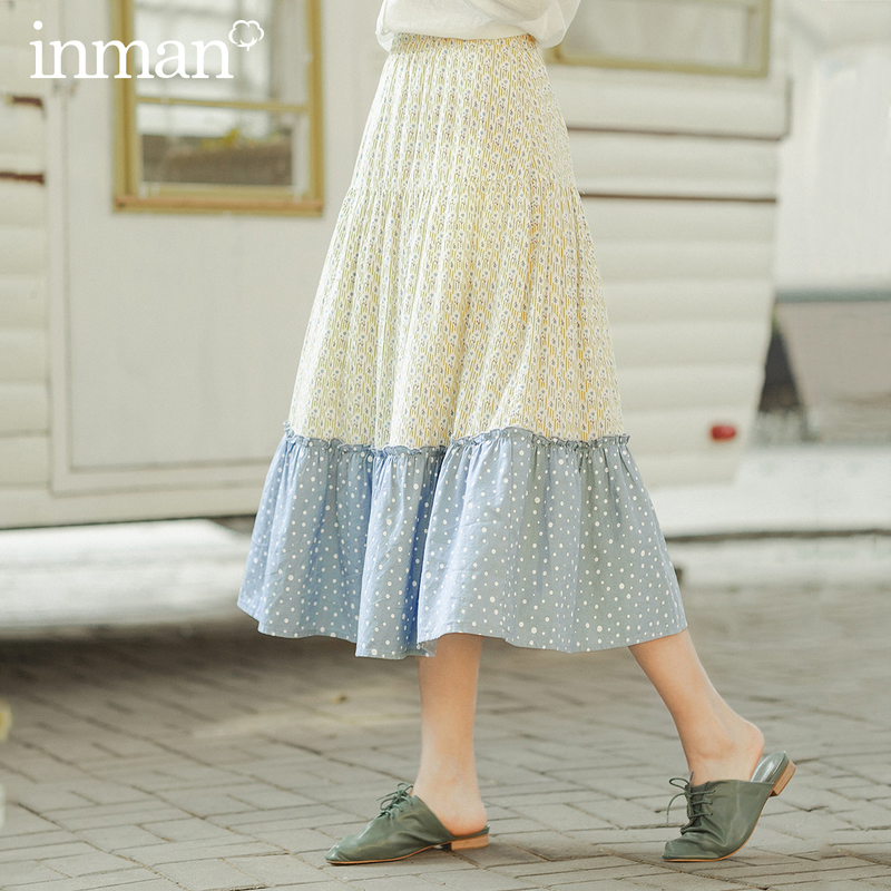 INMAN 2020 Spring New Arrival Literary Pure And Fresh Splicing Contrast Color A-shaped Umbrella Skirt