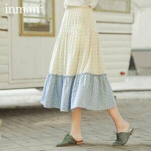 Image 1 - INMAN 2020 primavera nueva llegada literaria pura y fresca empalme contraste Color en forma de A falda de paraguas