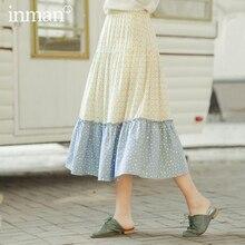 INMAN, весна 2020, Новое поступление, художественная чистая и свежая комбинированная цветная А образная юбка зонтик