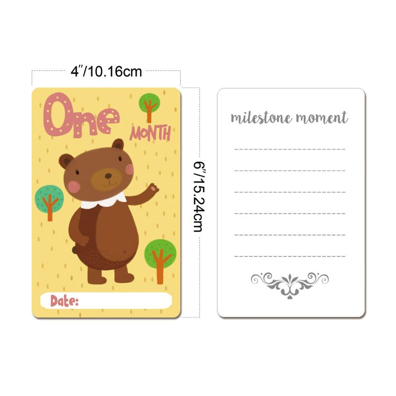 12 Sheet Milestone Photo Sharing Cards Gift Baby Age Cards Newborn Photo Props GXMB
