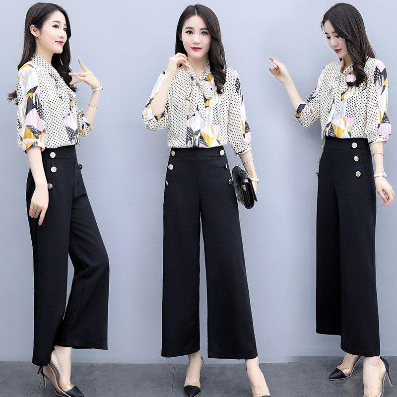 Set/Suit Skirt 2019 Summer V-neck Fashion Solid Color Printed Elegant Short Sleeve Simple Versatile Set