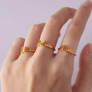 Ручные именные кольца для влюбленных из нержавеющей стали, персонализированные обручальные кольца для мужчин и женщин золотого цвета, рожд...