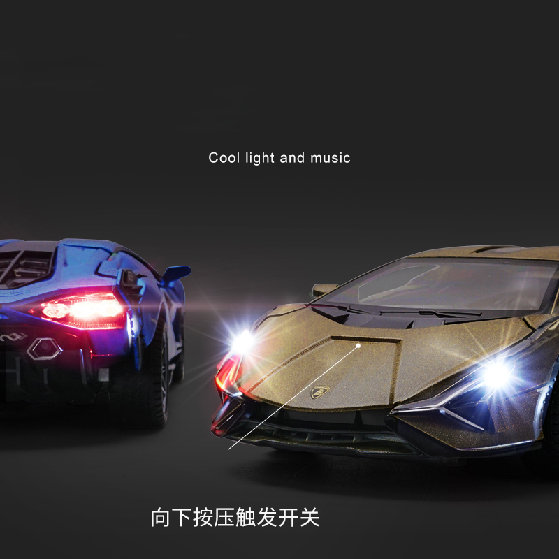 1:32 Lamborghinis Sian FKP37 Car Alloy Sports Car Model Diecast Sound Super Racing Lifting Tail Hot Car Wheel For Children Gifts 3