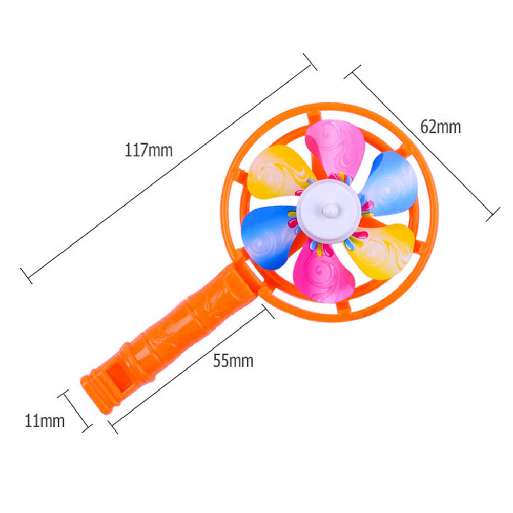 5Pcs Children Coloful Windmill Whistle Musical Developmental Toy Party Props Plastic Whistling Handle Toys Pinwheel Wind Spinner