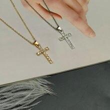 Popular cruz pingente colar ouro prata cor cristal colar presente para amigo atacado clássico feminino pescoço jóias