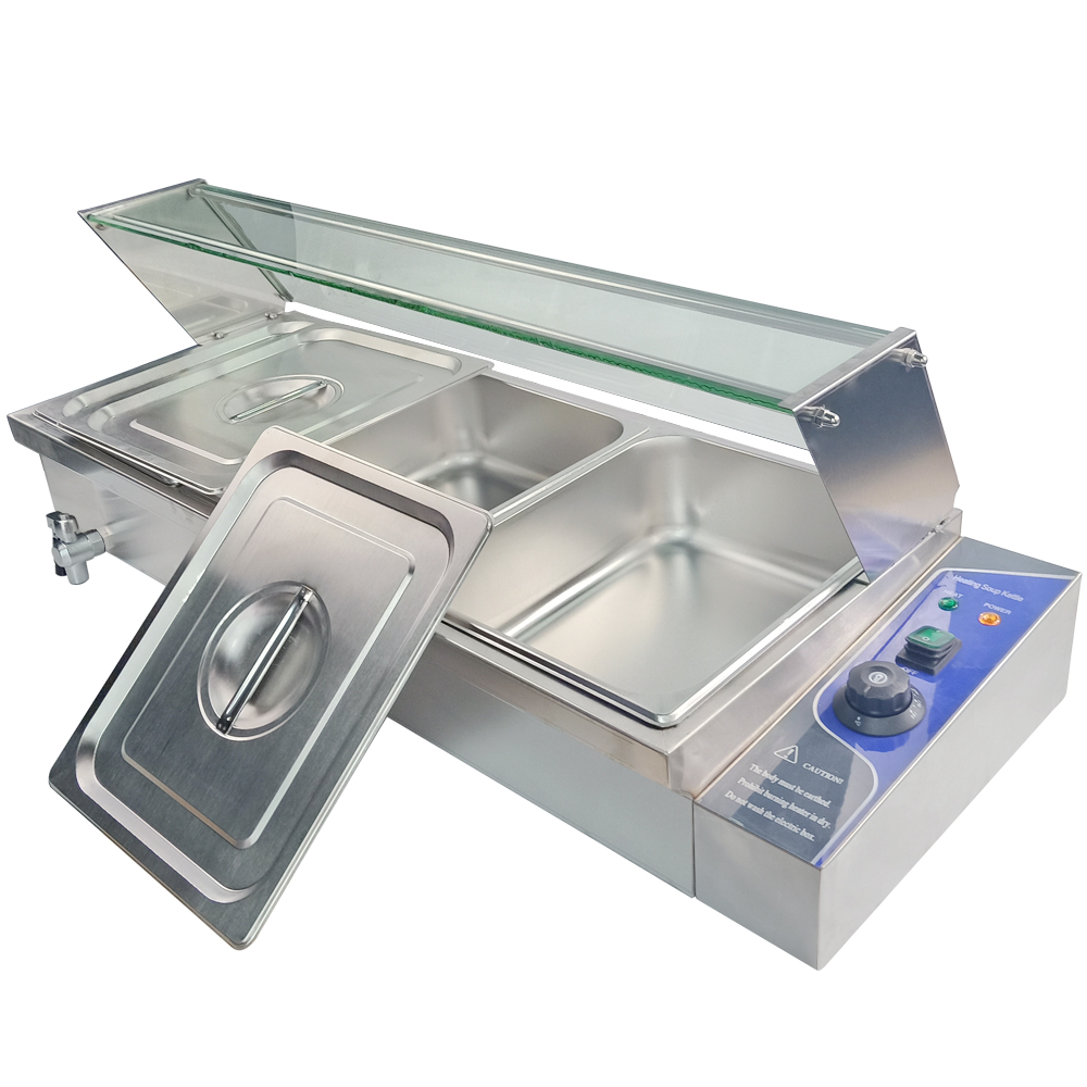 FOOD WARMER HOLDER COMMERCIAL CATERING KITCHEN 3 PAN ELECTRIC BAIN MARIE /& LIDS