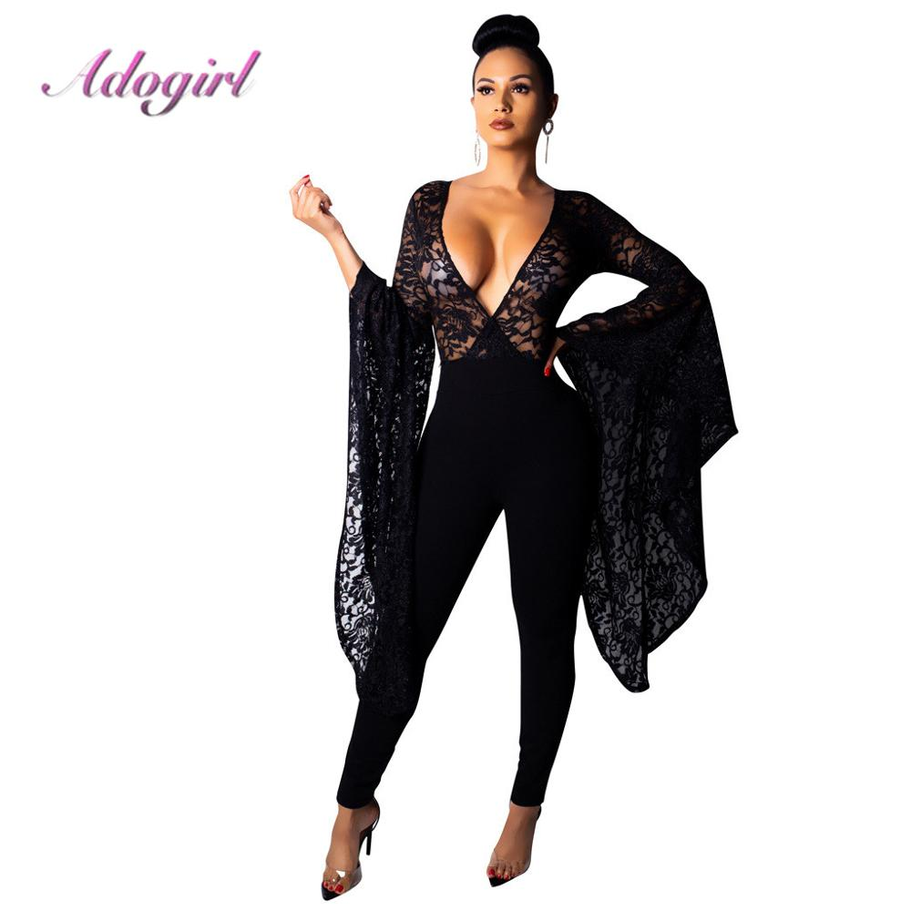 Adogirl Sexy Sheer Patchwork Lace Deep V Neck Jumpsuit Women Casual Flare Sleeves Party Clubwear Outfit Rompers Femme Overalls