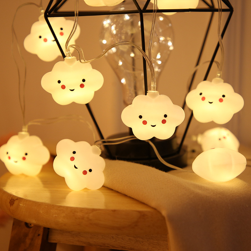 Smile Clouds String Lights Battery Powered Bedroom Party Holiday Cute Decoration Garland Strip Lighting 1.5M 10LED Party Tools