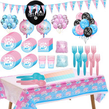 Gender Reveal Balloons Party Disposable Tableware Baby Shower Decor Set Tray Paper Cup Tablecloth Boy or Girl Party Decorations(China)
