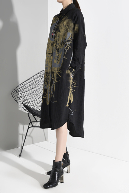 Black spatter Print Split Big Size  Dress lapel Long Sleeve Loose Fit  5