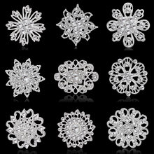 Rinhoo silver color flower rhinestone wedding brooch pins For women alloy 9 style flower fashion brooch Dress suit pins charm jewelry gift(China)
