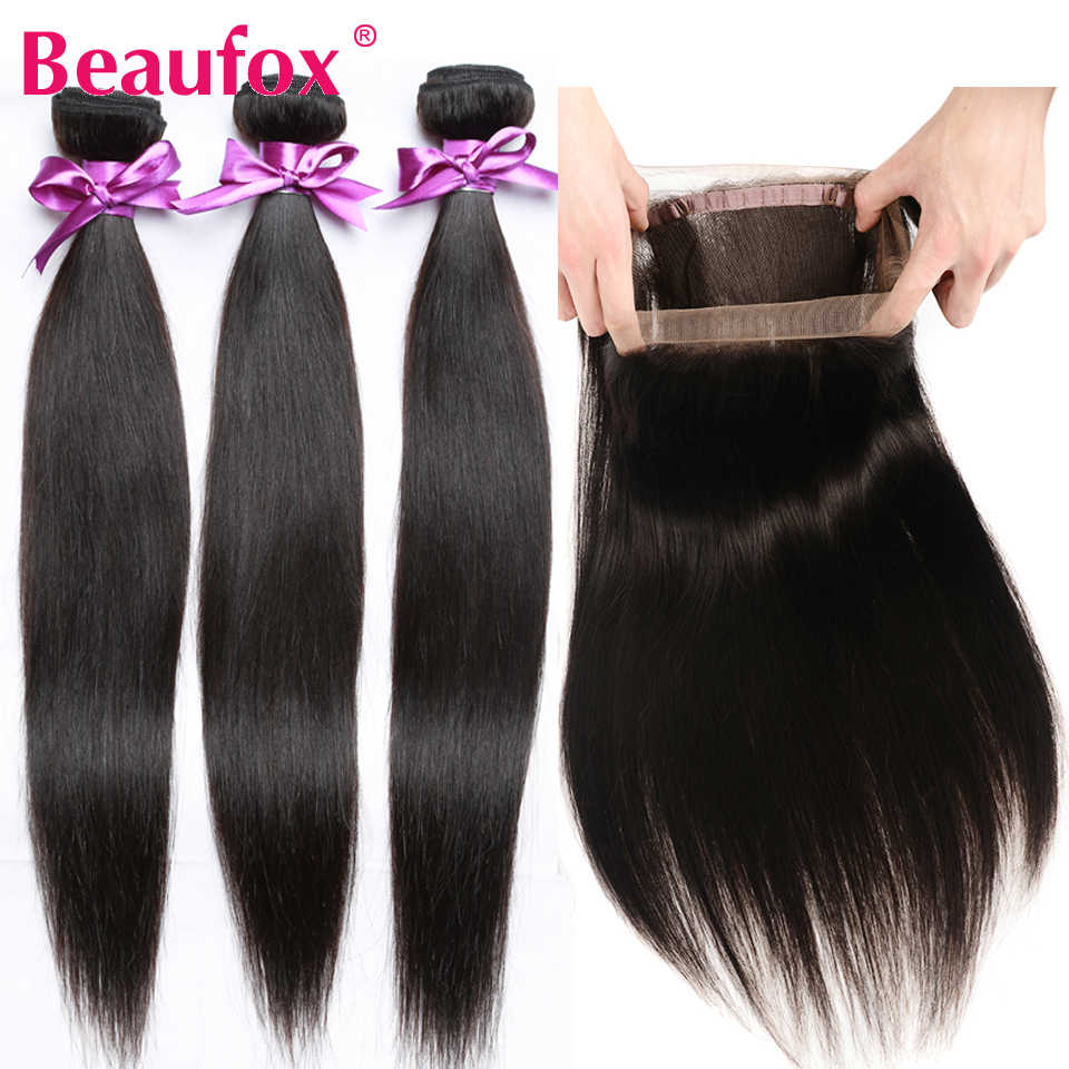 Beaufox 360 Lace Frontal Closure With Bundles Malaysian Straight Human Hair With Frontal Remy 360 Lace Frontal With Bundles