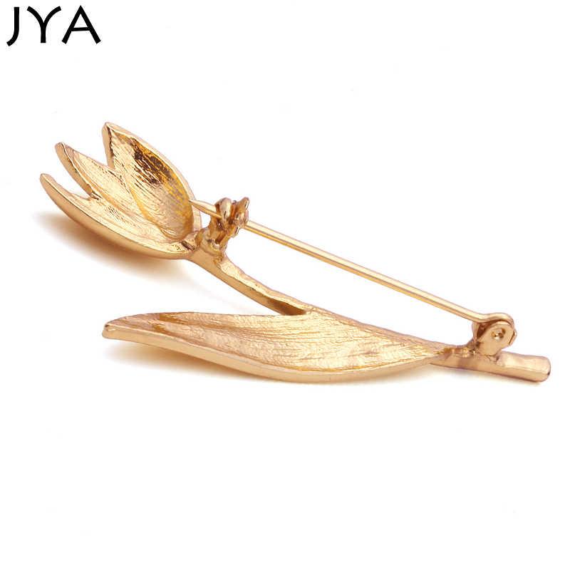 Moda broches para as mulheres na moda acessórios de forma de flor dourada elemento simples negócios lilyorchid broches de roupas femininas