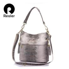 REALER torebki damskie torebki ze skóry naturalnej crossbody torebki damskie torebki damskie torebki damskie mała torebka typu bucket serpentynowy nadruk