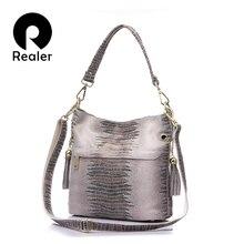 REALER المرأة حقيبة يد جلد طبيعي حقائب كروسبودي للنساء حقيبة كتف الإناث حقائب السيدات حقيبة دلو صغير اعوج طباعة