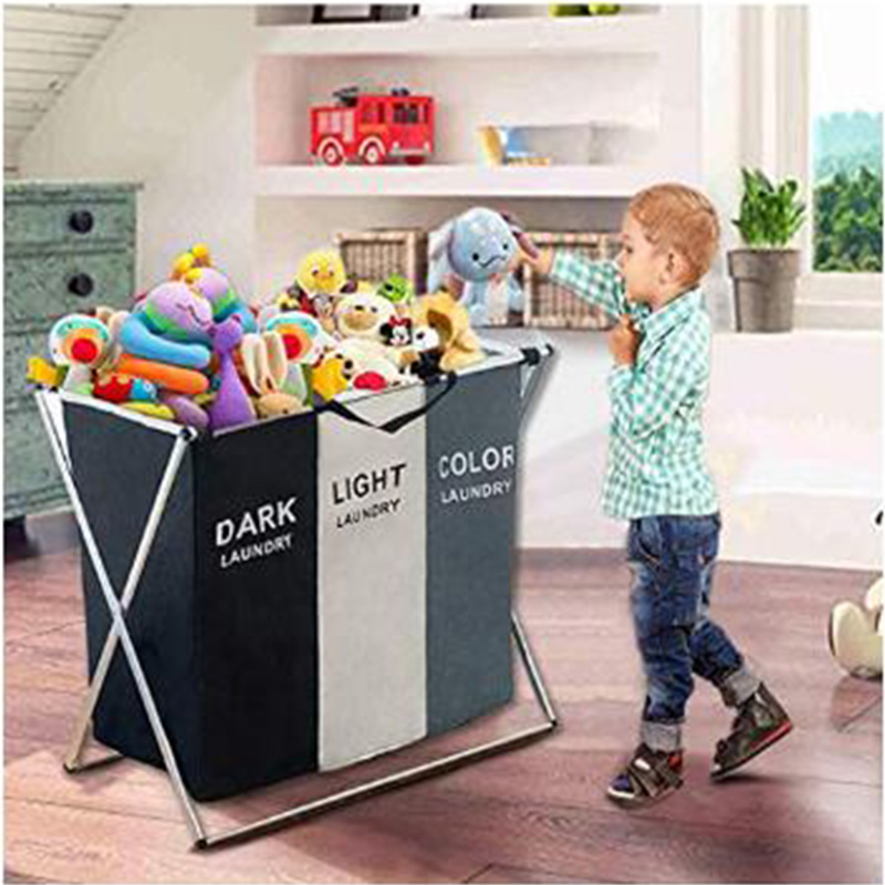 Laundry Basket Bin 3 Sections Large Dirty Clothes Hamper Sorter Toy Storage Bag
