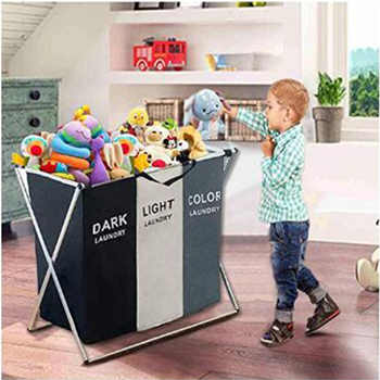 3 Section Collapsible Foldable Laundry Basket Organizer Large Box Storage Laundry Hamper Sorter Dirty Clothes Bag Kids Big Toys - Category 🛒 Home & Garden