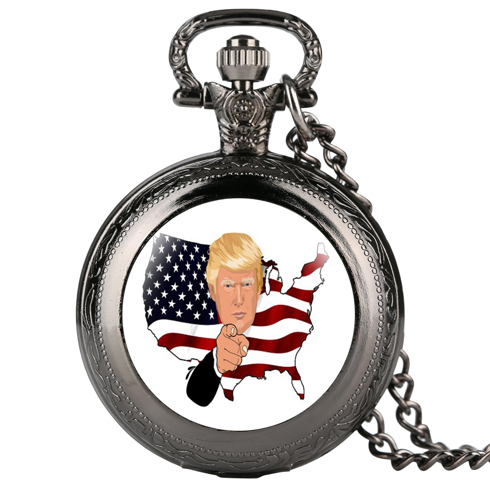 Funny Black Case Cover Quartz Pocket Watch Arabic Numerals Dial Trump Sign Pendant Clock Necklace For Men Reloj De Bolsillo