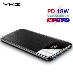 YKZ QC 3,0 внешний аккумулятор 10000 мАч светодиодный внешний портативный аккумулятор PD быстрое зарядное устройство Внешний аккумулятор для iPhone ...