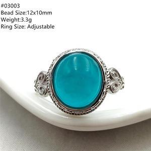 Image 3 - خاتم من الفضة الإسترليني 925 بحجر الأمازونيتي الجليدي الطبيعي الأخضر قابل للتعديل خاتم حريمي ورجالي بحبات كبيرة AAAAA