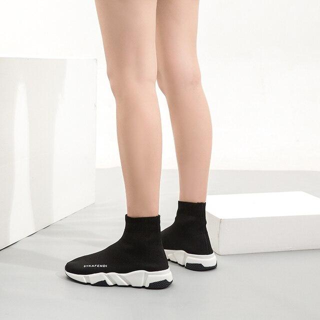2020 High Top Mesh Sock Shoes Women Sneakers Black Brand Designer Mens Unisex Slip on Boots Cartoon Vulcanized Plus Size Shoes