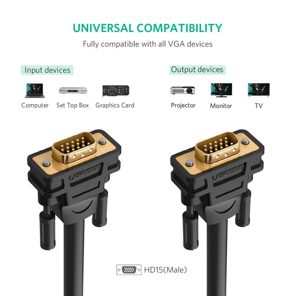 Ugreen VGA кабель «Папа-папа» 1080P 1 м 5 м 10 м кабель 15 Pin провод для монитора компьютера проектор VGA кабель