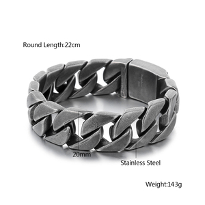 Image 5 - 20mm Wide 316L Stainless Steel Black color Bracelet Boys Wristband Cut Rombo Double Curb Link Buddha Bracelet for Gift Jewelry
