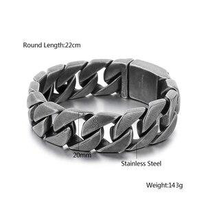 Image 5 - 20mm geniş 316L paslanmaz çelik siyah renk bilezik erkek bileklik Cut Rombo çift Curb bağlantı buda bilezik hediye takı