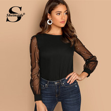 Sheinside Black Women Blouse Pearl Beaded Mesh Sleeve Top Ladies Long Sleeve Shirts Elegant Womens Clothing Tops And Blouses(China)