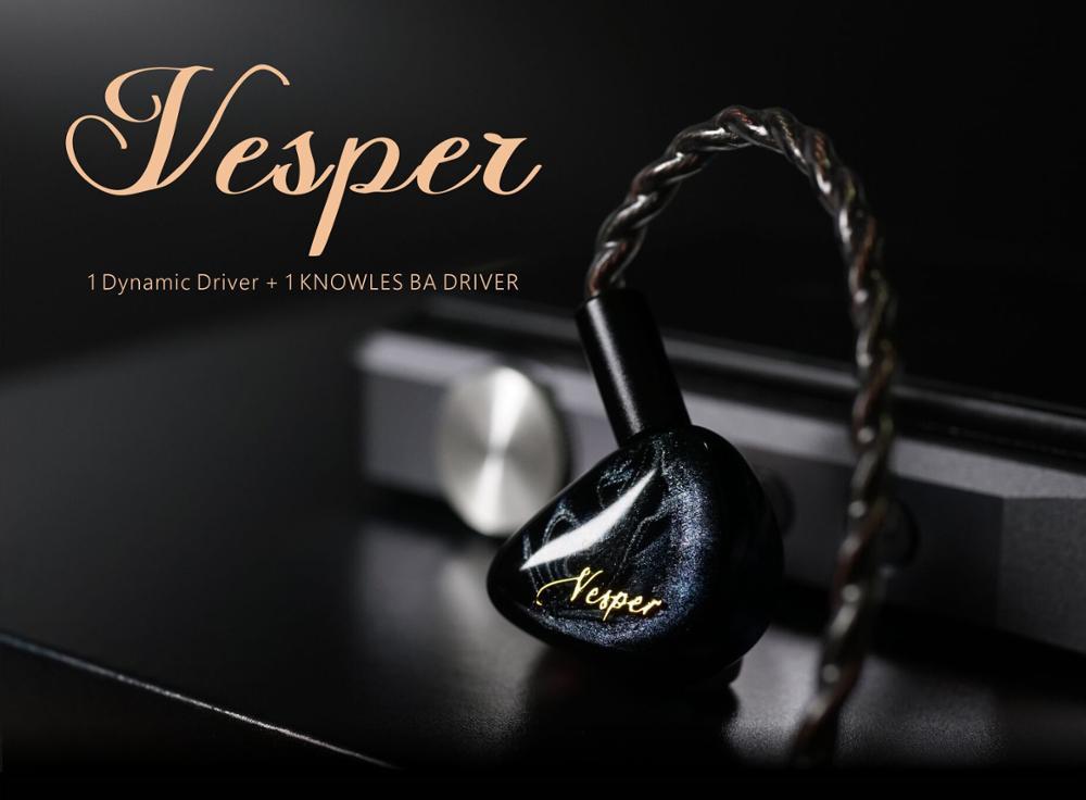 cheapest QOA Vesper 1BA 1DD Hybrid Driver Headphone  HIFI DJ Monitor Earphone Earbuds Headset With 2Pin Detachable Cable KZ ZSX ZSN