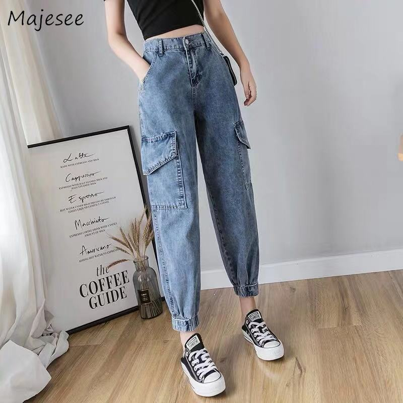 Jeans Women Harem High Waist Ankle-length All-match Womens Trousers Chic Harajuku Korean BF Loose Big Pockets Fashionable Casual